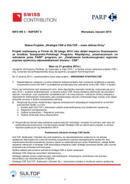 """INFO NR 3 – RAPORT II Status Projektu """"Strategia CS Projekt"""