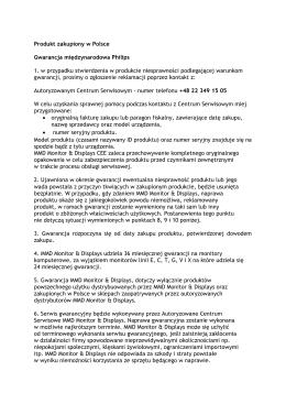 Produkt zakupiony w Polsce Gwarancja międzynarodowa