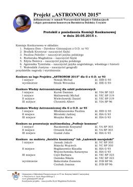 """Projekt """"ASTRONOM 2015"""" - Gimnazjum z Oddziałami"""