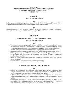Regulamin pierwszej rekrutacji dzieci do Miejskiego Żłobka w