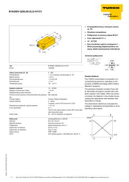 Inklinometr jednoosiowy z 2 wyjściami analogowymi