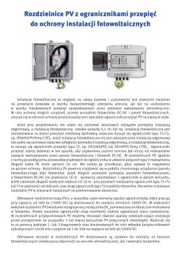 Rozdzielnice PV z ogranicznikami przepięć do ochrony instalacji