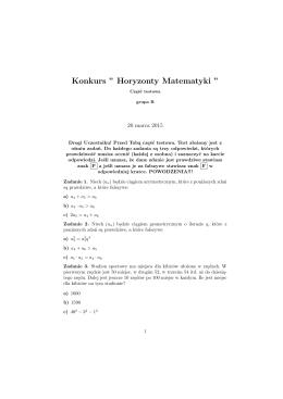 Zadania HORYZONTY MATEMATYKI gr. B