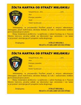 żółta kartka od straży miejskiej żółta kartka od straży miejskiej