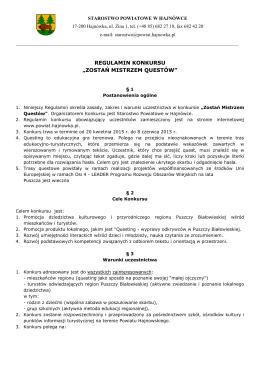 Regulamin konkursu - Urząd Gminy Białowieża