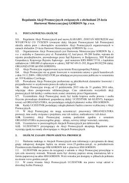 Regulamin Akcji Promocyjnych związanych z - 25