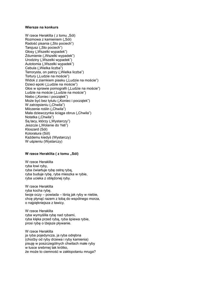Wiersze Na Konkurs W Rzece Heraklita Z Tomu Sól Rozmowa Z