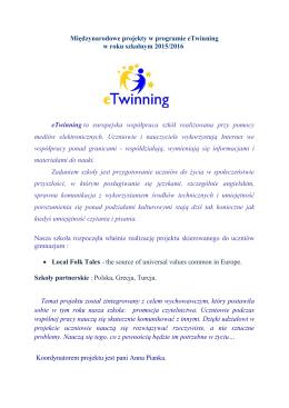 twinning Local Folk Tales - Zespół Szkół nr 3 im. Jana III