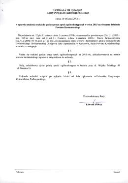 UCHWALA NR III/26/2015 w sprawie ustalenia rozkładu godzin