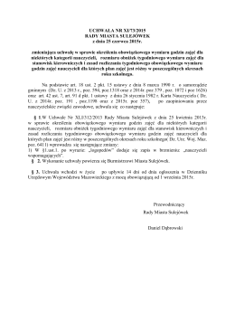 XI/73/2015 zmieniająca uchwałę w spr. określenia obowiąz