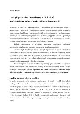 Analiza arkusza zadań z języka polskiego i matematyki