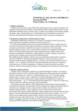 INSTRUKCJA UKŁADANIA MEMBRANY Elastoseal