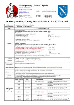 IX Międzynarodowy Turniej Judo – SILESIA CUP – RYBNIK 2015