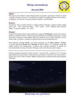 Miesiąc astronomiczny Styczeń 2016