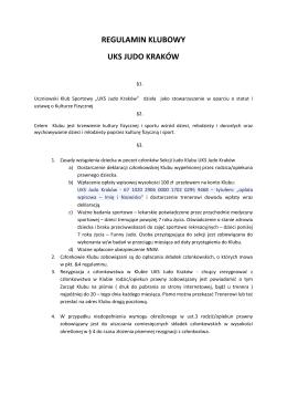 Regulamin Klubu - UKS Judo Kraków
