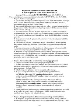 Regulamin opłacania składek członkowskich w - Budokan-Dojo