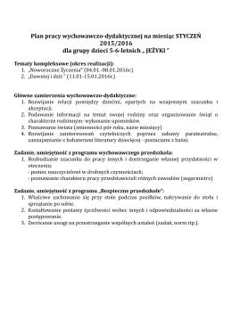 Plan pracy wychowawczo-dydaktycznej na miesiąc