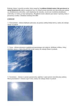 Rodzaje chmur i zjawisk na niebie, które mogą być wynikiem