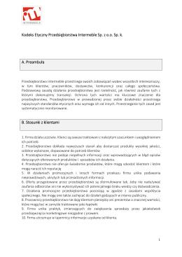 Kodeks Etyczny Przedsiębiorstwa Intermeble Sp. z o.o. Sp. k. A