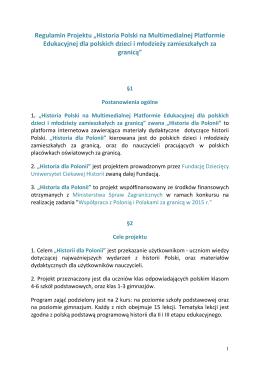 "Regulamin Projektu ""Historia Polski na Multimedialnej Platformie"