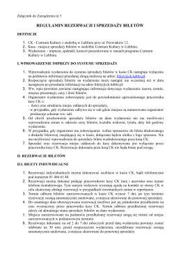 regulamin kasy-ck - Centrum Kultury w Lublinie