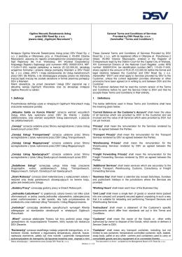 Ogólne Zasady i Warunki Świadczenia Usług przez DSV Road Sp. z