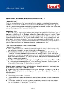 Katalog pytań i odpowiedzi odnośnie rozporządzenia GHS