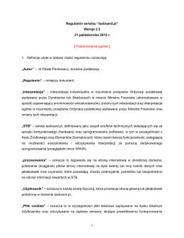 """Regulamin serwisu """"taxboard.pl"""" Wersja 2.3 21 października 2015 r"""