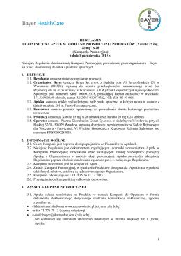 dokumentem regulującym warunki uczestnictwa Aptek w