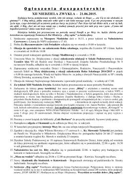 O g ł oszeniaduszpasterskie XII NIEDZIELA ZWYKŁA – 21.06.2015.
