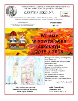 Witamy w nowym roku szkolnym 2015 / 2016