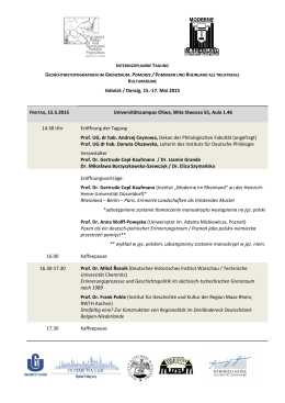 Gdańsk / Danzig, 15.-17. Mai 2015 FREITAG, 15.5.2015