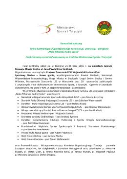 Komunikat końcowy Finału Centralnego 5 Ogólnopolskiego Turnieju