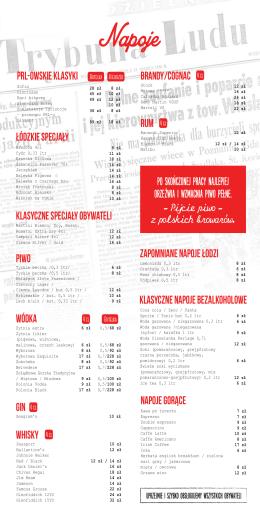 napoje - Restauracja Smaki PRL-u