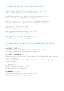 koktajle nifty / nifty cocktails koktajle klasyczne
