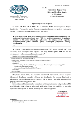Sz. P. Kazimierz Bujakowski Główny Geodeta Kraju ul