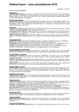 Oddział Sopot – Lista reproduktorów 2015
