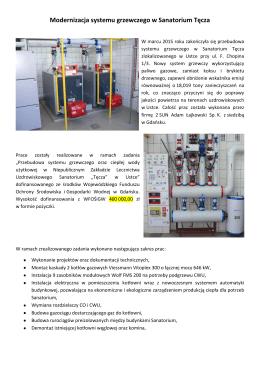 Modernizacja systemu grzewczego w Sanatorium Tęcza