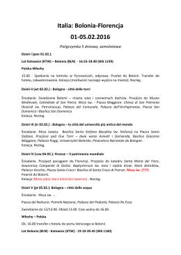 Italia: Bolonia-Florencja 01-05.02.2016
