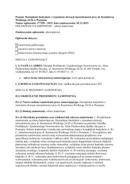 Ogłoszenie o przetargu - Ośrodek Profilaktyki i Epidemiologii