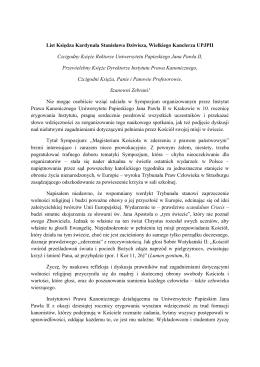 List Księdza Kardynała Stanisława Dziwisza, Wielkiego Kanclerza