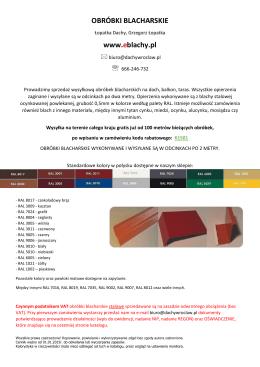 katalog obróbek blacharskich w pdf