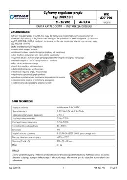 WK 427 790 Cyfrowy regulator prądu typ 20RC10 E