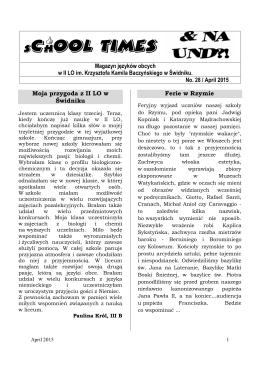 kwiecień 2015 - II Liceum Ogólnokształcące im. K. K. Baczyńskiego