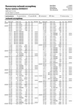 Rozszerzony rachunek szczegółowy Numer telefonu Numer