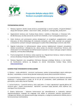 Przyjaciele Bałtyku edycja 2015 Konkurs na projekt edukacyjny