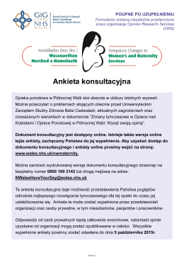 Ankieta konsultacyjna - NW Women`s and Maternity Services