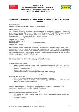 Wzór umowy ze szkołami 2015/2016