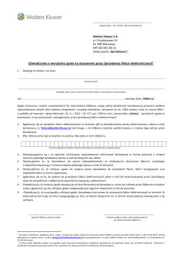 Oświadczenie o wyrażeniu zgody na stosowanie faktur