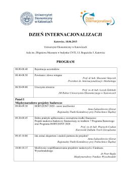 Szczegółowy Program Dnia Internacjonalizacji